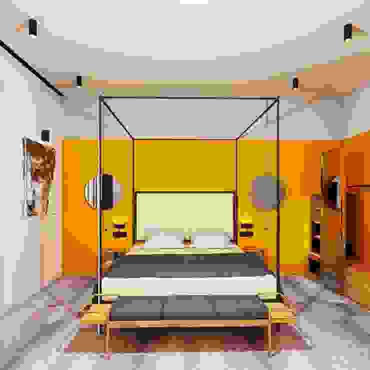 Otel Odası Tasarımı Alternatif 2 - Yatak Cephesi Akdeniz Oteller Entrada Mimarlık Akdeniz Ahşap Ahşap rengi