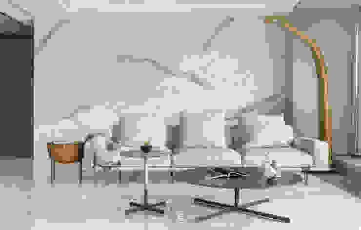 靜。觀 现代客厅設計點子、靈感 & 圖片 根據 質覺制作設計有限公司 現代風