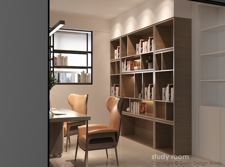 Study room book shelves Modern study/office by Swish Design Works Modern Plywood