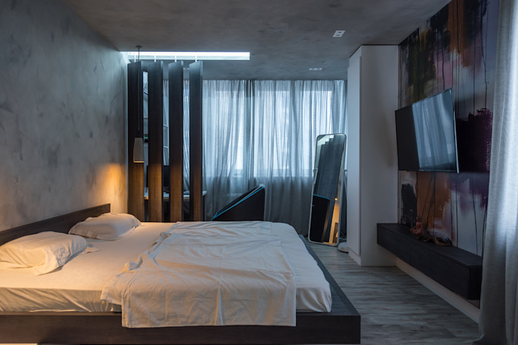 YOUR PROJECT Industrial style bedroom Concrete Grey