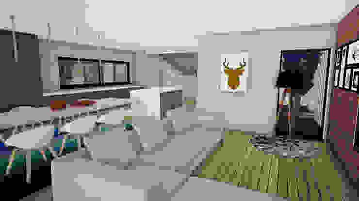 Moradia Vila Nova Anços Salas de estar minimalistas por Escala Absoluta Minimalista