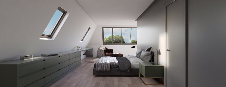Loft Conversion Modern Bedroom by Holistic Architecture Modern