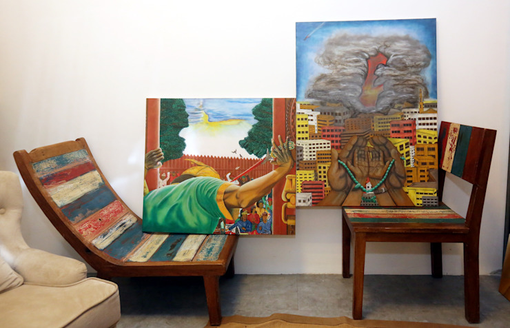 LOOSE FURNITURE (SOLID WOOD CHAIR & TABLE) + PAINTING by eL precio Rustic