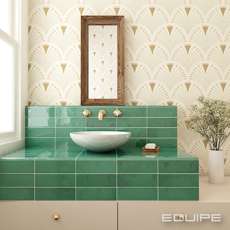 Equipe Ceramicas Eclectic style bathrooms Tiles Green