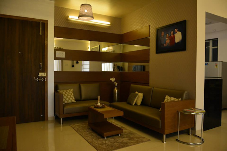 Interior Designers Pune Olive Interiors Living roomSofas & armchairs Leather Brown