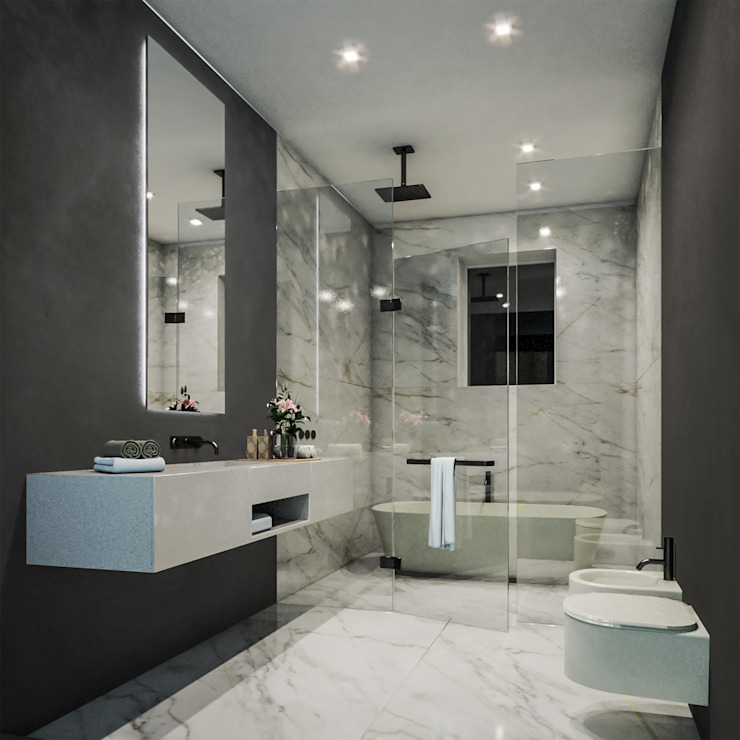 Bathroom Bagno minimalista di Aeon Studio Minimalista Marmo