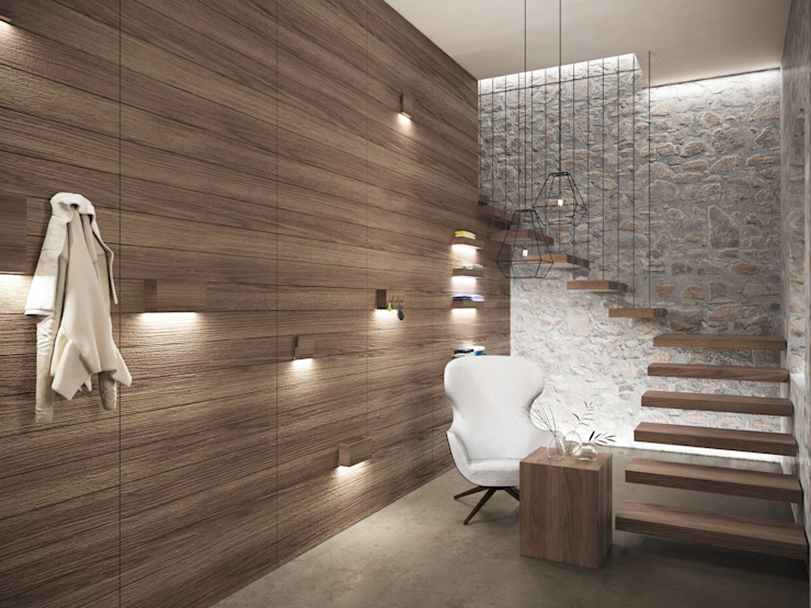 Reception Aeon Studio Ingresso, Corridoio & Scale in stile minimalista Legno Grigio