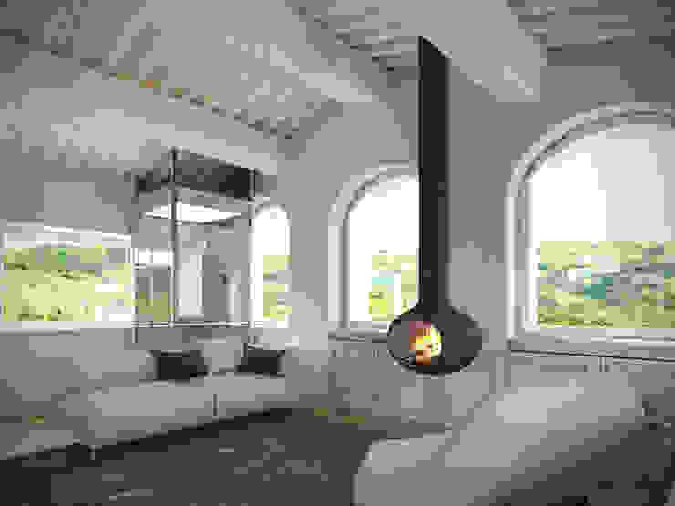 Living room Aeon Studio Soggiorno minimalista Legno Bianco