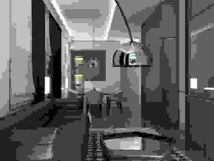 Living room Aeon Studio Soggiorno moderno Legno Grigio
