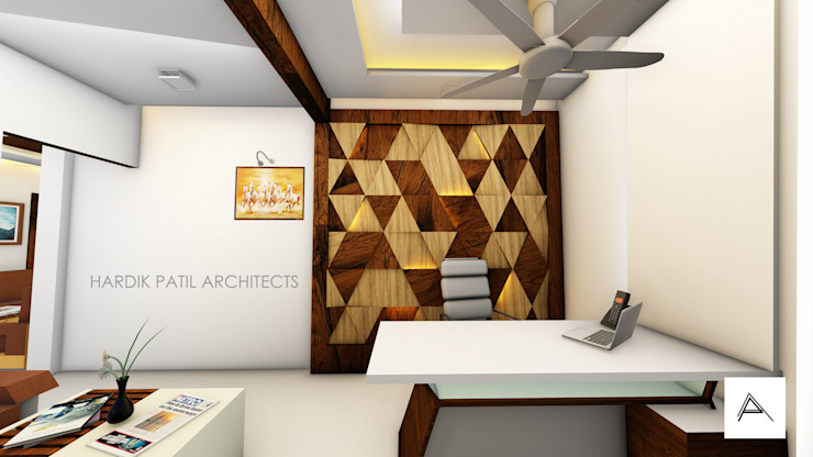 3D WALL PANELLING Modern offices & stores by HARDIK PATIL ARCHITECTS Modern
