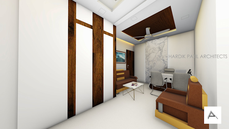 WAITING AREA Modern offices & stores by HARDIK PATIL ARCHITECTS Modern