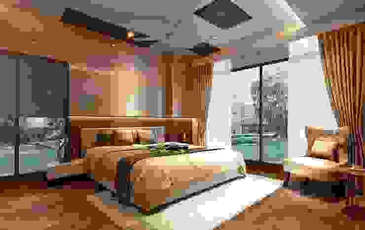 Master bedroom interior design by Monoceros Interarch Solutions Modern Glass