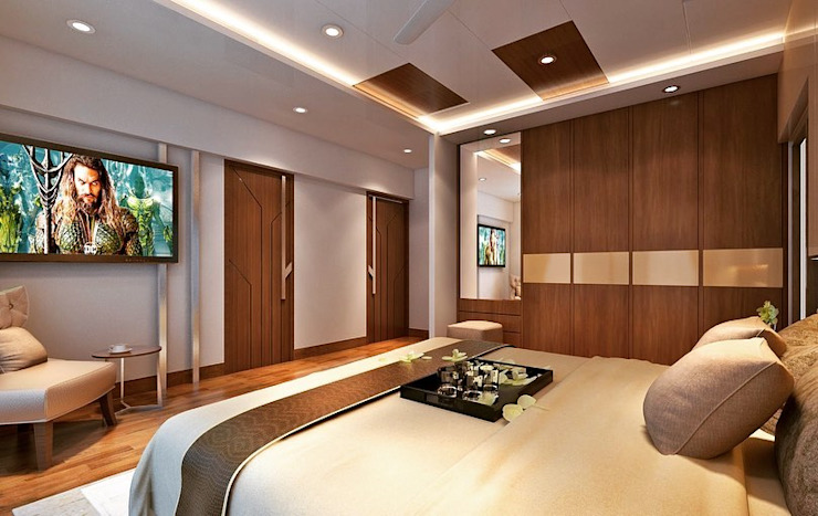 Master bedroom interior design by Monoceros Interarch Solutions Modern Plywood