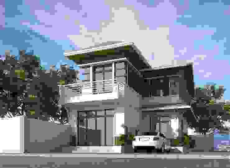 Biệt thự mái thái 2 tầng kiểu chữ L bởi VIỆT ARCHITECT Tối giản