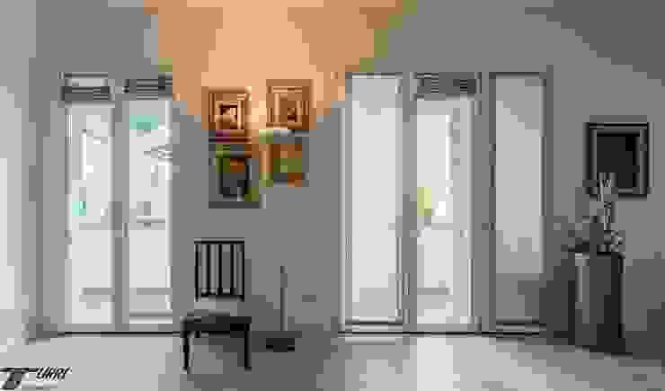 Porte finestre in PVC situate all'interno di un nuovo appartamento nel centro di Empoli di Turri Serramenti Srl Moderno PVC