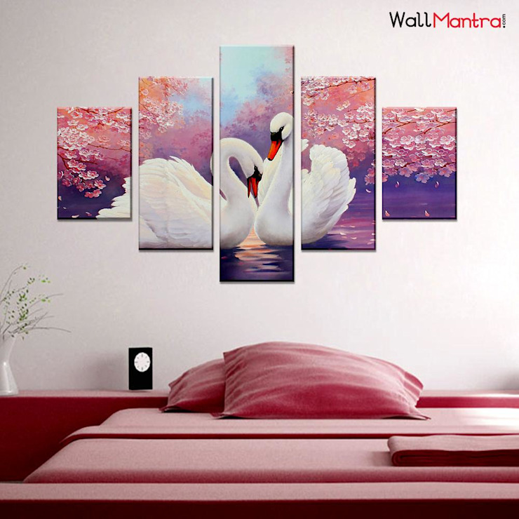 ROMANTIC COUPLE OF SWANS 5 PIECES CANVAS PRINT WALL PAINTING: minimalist  by WallMantra,Minimalist