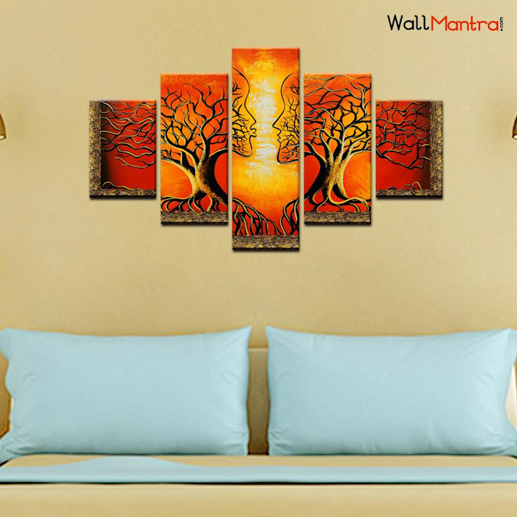 ROMANTIC TREE 5 PIECES CANVAS PRINT WALL PAINTING: minimalist  by WallMantra,Minimalist