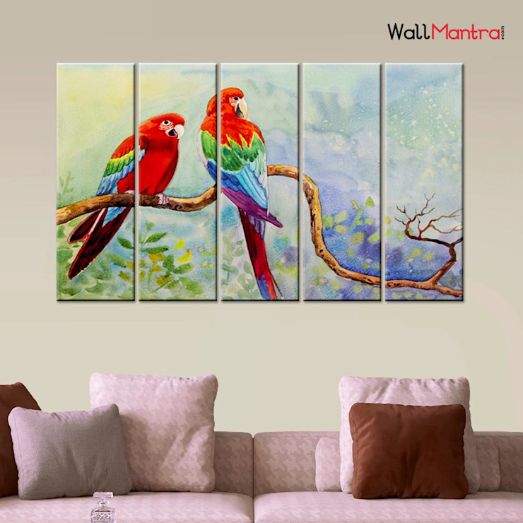 PARROT LOVE COUPLE 5 PIECES CANVAS PRINT WALL PAINTING: minimalist  by WallMantra,Minimalist