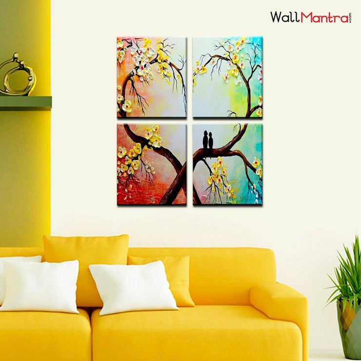 COUPLE BIRD ON HEART BRANCH ROMANTIC WOODEN FRAMED WALL PAINTING: minimalist  by WallMantra,Minimalist