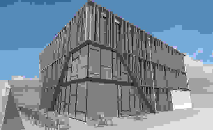 Fachadas traseras con terraza Edificios de oficinas de estilo moderno de INARQ Espacio Moderno Madera Acabado en madera