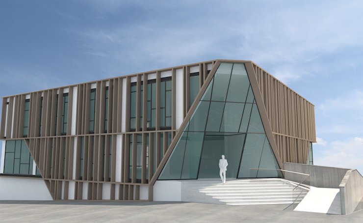 Fachada principal Edificios de oficinas de estilo moderno de INARQ Espacio Moderno