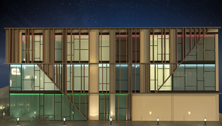 Fachada lateral con luz nocturna Edificios de oficinas de estilo moderno de INARQ Espacio Moderno Madera Acabado en madera