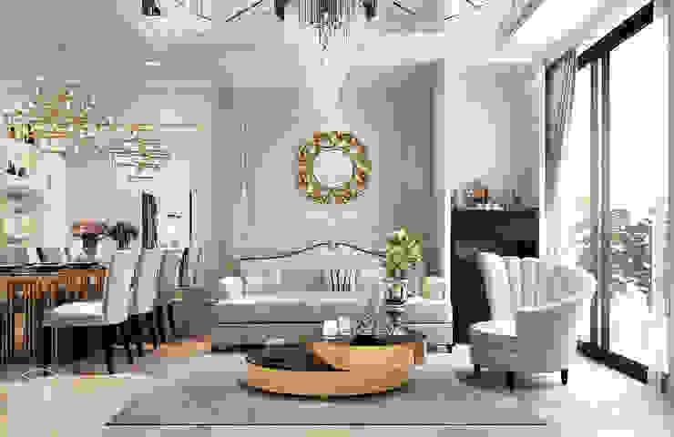 lingving room for the luxurious: cổ điển  by Công ty CP Kiến trúc và Nội thất Sen design, Kinh điển MDF