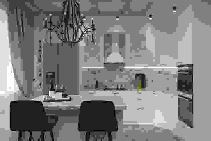 гостиная кухня в загородном доме Гостиная в стиле кантри от Евгения Ковалева Кантри Камень