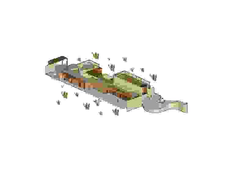 Ilustración Casa las 5 niñas Casas de estilo industrial de Hamaca Arquitectura SpA Industrial
