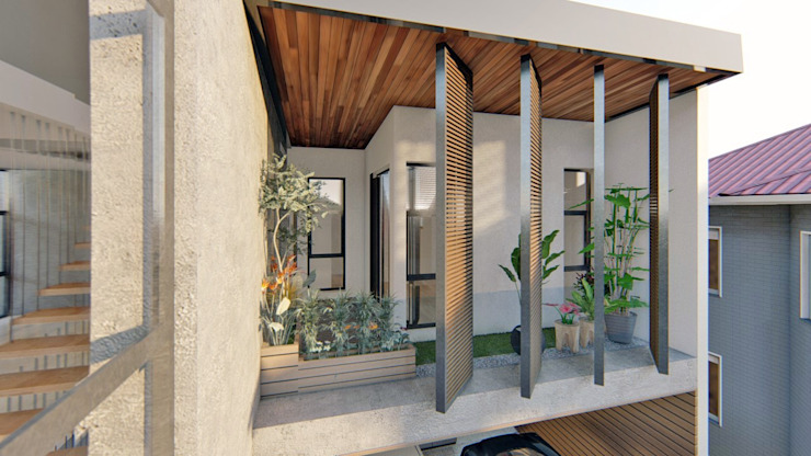 Second Floor Balcony by Structura Architects Tropical Wood Wood effect