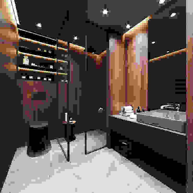 Beylikdüzü Misafir Banyosu Tadilatı Emre Tükenmez Mimarlık Modern Banyo Ahşap-Plastik Kompozit Siyah