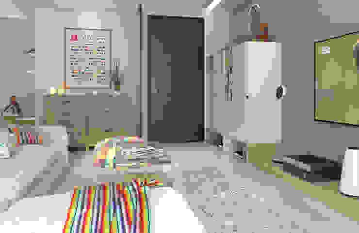 全室以純白基調提升明亮度,搭配低彩度的薄荷綠 斯堪的納維亞風格的走廊,走廊和樓梯 根據 雅和室內設計 北歐風