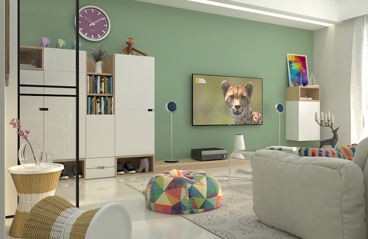 全室以純白基調提升明亮度,搭配低彩度的薄荷綠,創造出明亮純淨、同時具有沈穩感的空間基調。 根據 雅和室內設計 北歐風