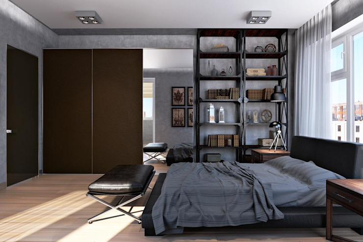 Технологии дизайна Industrial style bedroom Grey