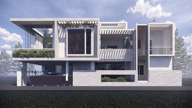 North Elevation Day View MAP Architects Villas White