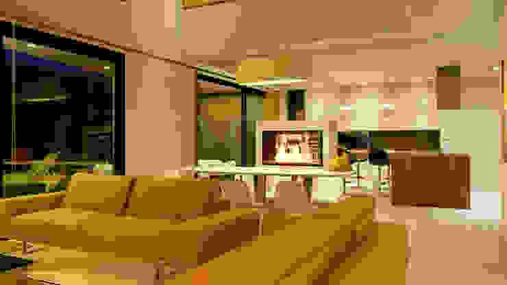 Salón-Comedor con chimenea de bioetanol Salones de estilo moderno de QCASA.Madrid. Viviendas industrializadas eficientes de hormigón Moderno Hormigón