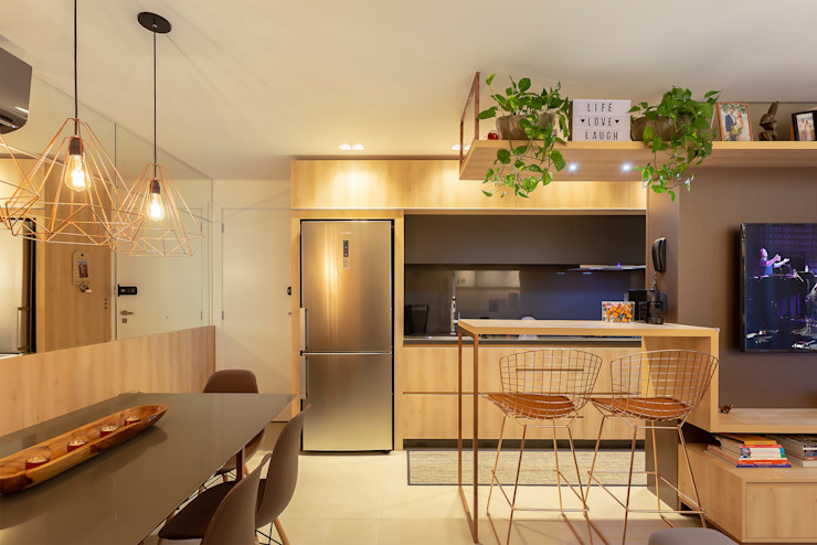 Industrial style kitchen by Cassiana Rubin Arquitetura Industrial