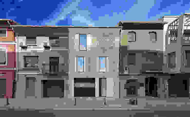 Rehabilitación fachada aplacada. Barreres del Mundo Architects. Arquitectos e interioristas en Valencia. Casas unifamilares Cerámico Beige
