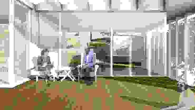 Vista do deck sobre o estacionamento coberto Jardins de Inverno modernos por José Melo Ferreira, Arquitecto Moderno