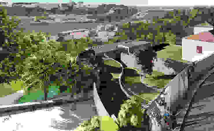 Vista sobre o acesso à casa por José Melo Ferreira, Arquitecto Moderno