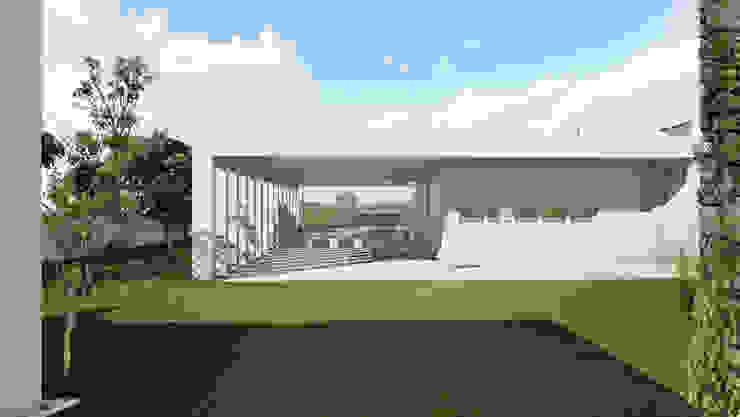 Vista da chegada à plataforma na qual se implanta a casa por José Melo Ferreira, Arquitecto Moderno