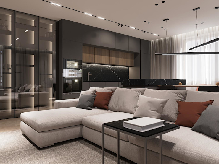 Salas de estilo minimalista de АРТ УГОЛ Студия архитектуры и дизайна Minimalista