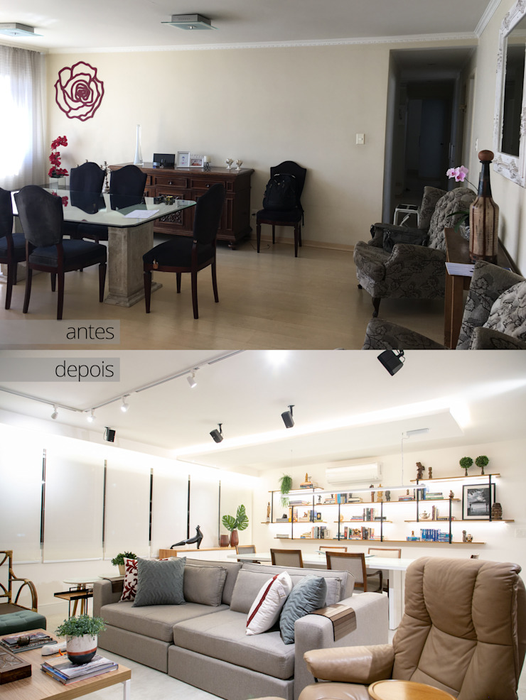 Sala de estar totalmente renovada C2HA Arquitetos