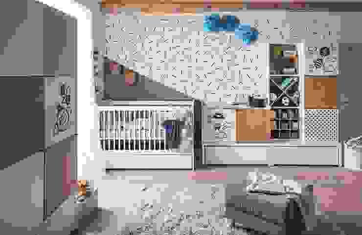 Babyzimmer komplett weiß-schwarz modern Black&White: modern  von QMM TraumMoebel,Modern