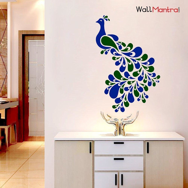 BEAUTIFUL PEACOCK BIRD PREMIUM QUALITY WALL STICKER: minimalist  by WallMantra,Minimalist