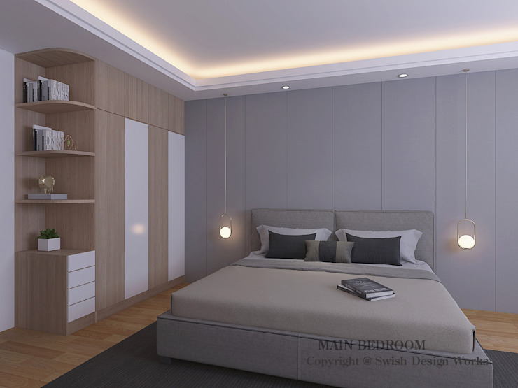 Master bedroom option 2 Swish Design Works Small bedroom Plywood Grey