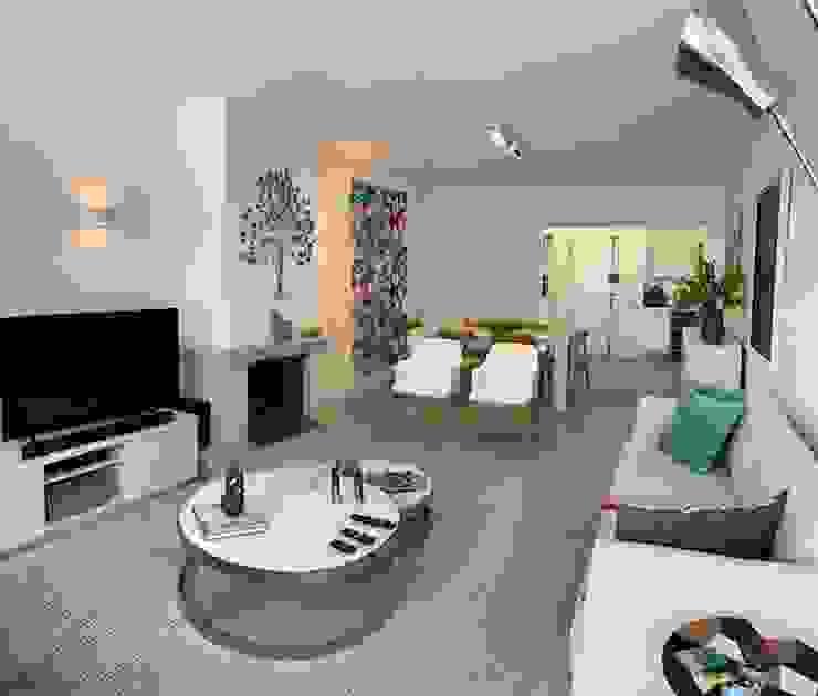 Sala de Estar e Jantar Integradas, móveis claros Salas de estar mediterrâneas por NEUSA MORO Mediterrâneo