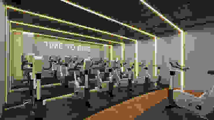 Salon Spinning Gym H Fitness Gimnasios domésticos industriales de BÖHEM STUDIO Industrial