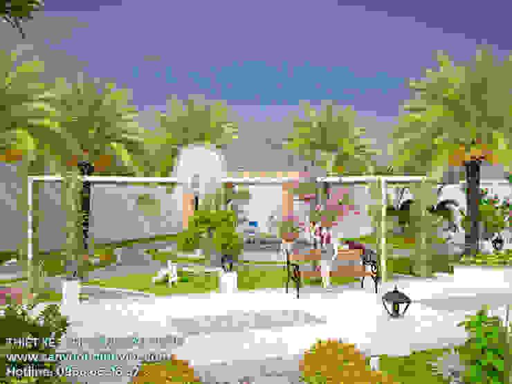 Thiết kế cải tạo vườn biệt thự trước nhà tại Vĩnh Long bởi Sân Vườn Đỉnh Việt