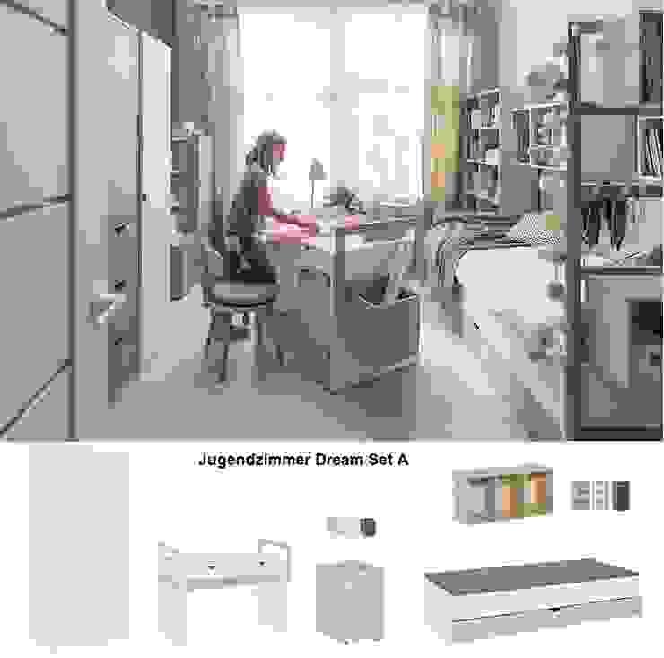 Jugendzimmer komplett weiß modern Dream Set A von QMM TraumMoebel Modern Holz Holznachbildung